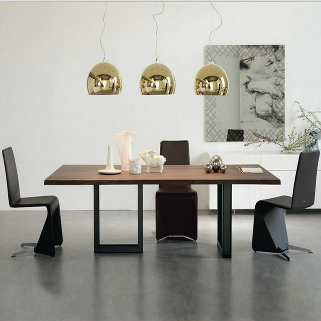 Retro Fashion Wrought Iron Wood Tables And Chairs Combination - Desk conference table combination