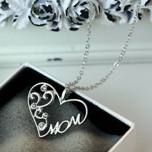 "Tomtosh Fashion Korean mother and child love ""Mom"" crystal pendant necklace Mother's Day gifts sweater chain necklace for mother"