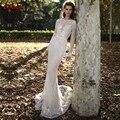 Vestido де noiva сексуальная открыть назад длинным рукавом bling bling блестками русалка свадебные платья 2017 свадебное платье robe de mariage