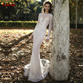 Vestido de noiva sexy espalda abierta de manga larga bling bling lentejuelas sirena vestidos de novia 2017 vestido de novia robe de mariage