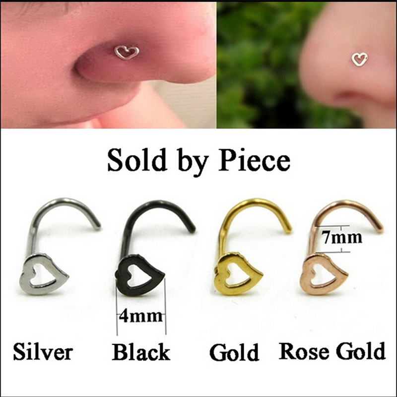 Stainless Steel Silver Gold Nose Open Hoop Ring Earring Body
