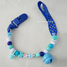 Personalized -any name color beads with solid Grosgrain pacifier clips pacifier holders chain dummy clip /Teethers clip for baby(China)
