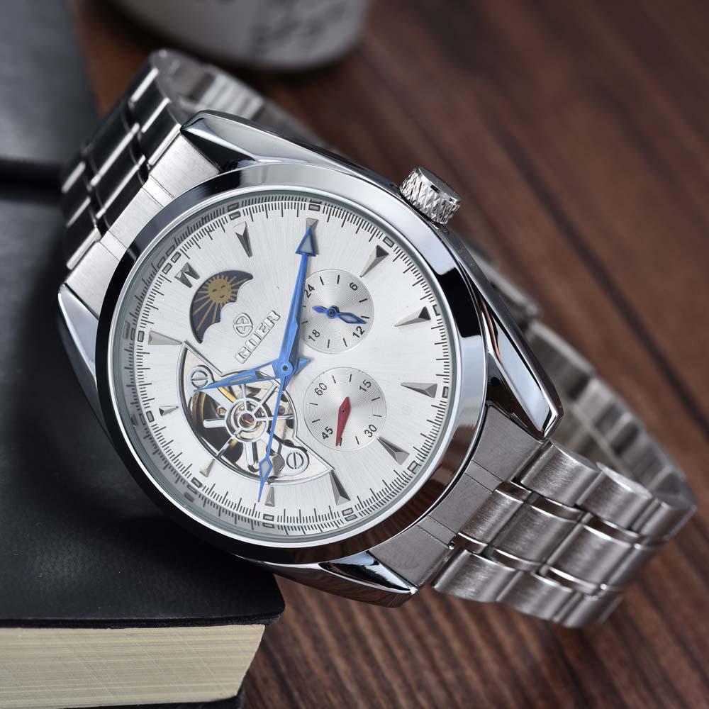 цена на GOER New Men Mechanical Wrist Watches Luxury Brand Tourbillon Automatic Mechanical Watches Moon phase Relogio Masculino
