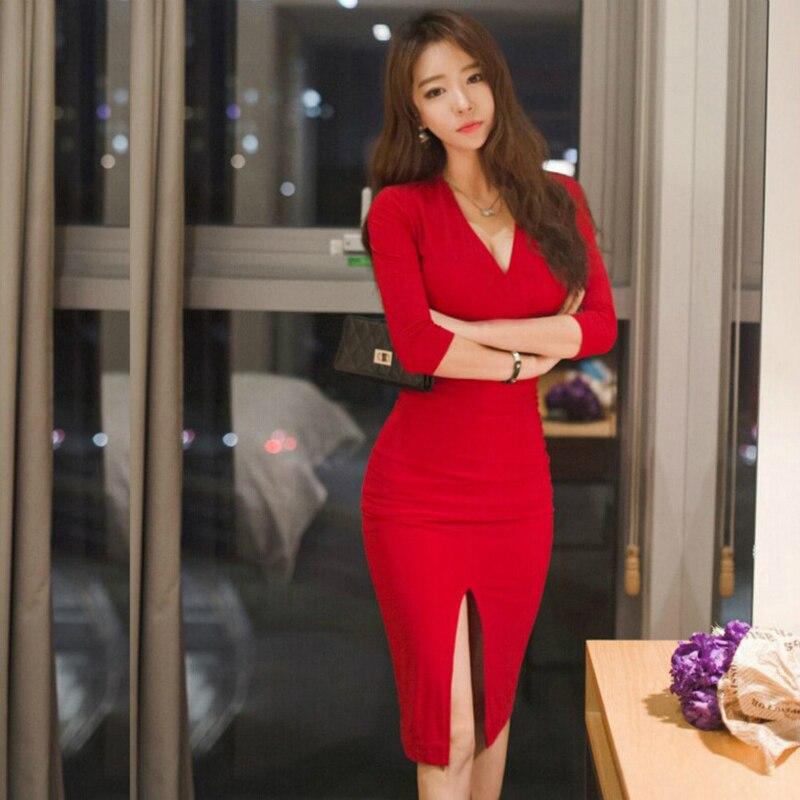 Automne femmes à manches longues Bandage bureau partie Sexy robe moulante noir rouge Vintage robe vcou Vestido De Festa robes Vent