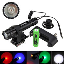 5000Lm White/Red/Green/Blue LED Bike Light +Red Dot Laser Sight Scope+ Battery +Charger+Press Switch