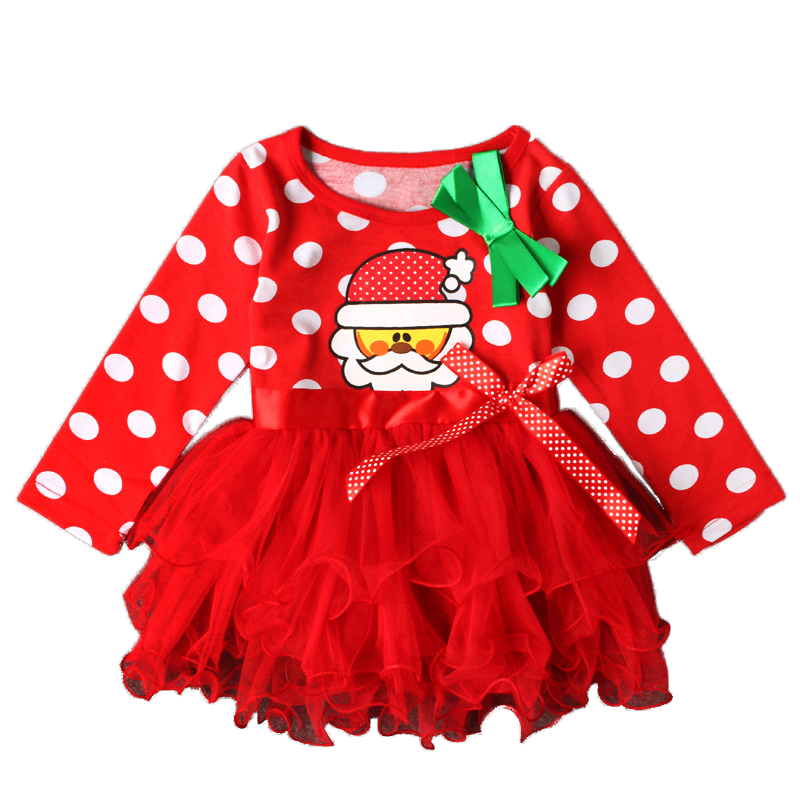 Cute baby clothing child girl autumn winter Christmas dot print butterfly lace edge cake Toddler Kids Baby Girls full Party-in Dresses from Mother ...