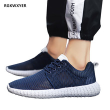 RGKWXYER Summer New Mesh Sneakers Men Breathable Casual Shoes Fashion Lightweight Flats Hollow Small White