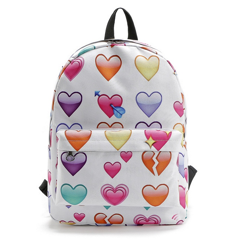 Emoji Nail Women Oxford Backpack Teenage Girl School Bags Cat Lips Cartoon Printing Lady Cute Preppy Style Sack Mochila Book Bag