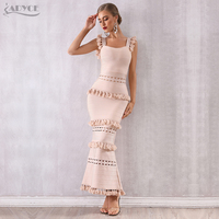 Adyce 2020 New Summer Women Maxi Hollow Out Bandage Dress Sexy Sleeveless Tassel Club Dress Fringe Celebrity Evening Party Dress