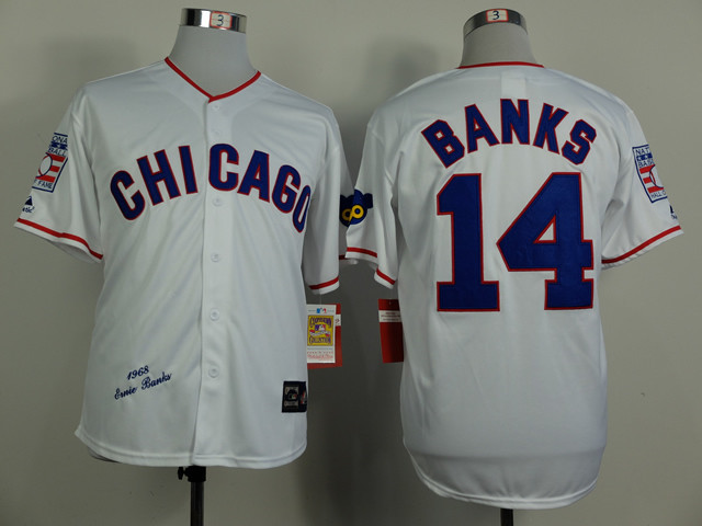 lowest price 1c876 abd65 chicago cubs 14 ernie banks blue throwback jersey