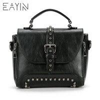 f89418a04 2018 Vintage Leather Bag Handbags Crossbody Bags For Women Messenger Bags  Women Famous Brand Rivet Small