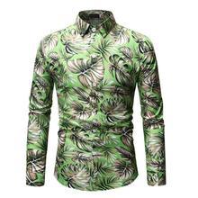 Gold Blouse Men Stage Hawaiian Shirt Fashion Long sleeve Mens Dress Shirts Casual Green Blue New