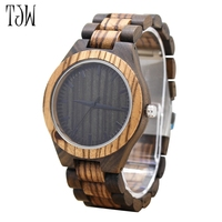 2018 TJW Brand Mens Wooden Watches Quartz Watch Vintage Wristwatch Nature Wood Zabra Clock For Men