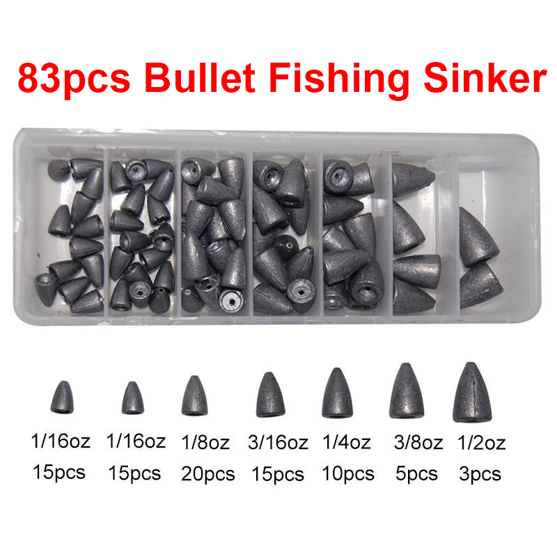 83pcs Lead Fishing Sinker For Texas Rig Carp Fishing Bullet Shaped Weights Sinkers Set With Box For Largemouth Bass Fishing