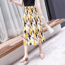 summer women clothes 2019 Commuting office Yellow green flower printed chiffon high waist elastic waist pleated skirt midi skirt недорого