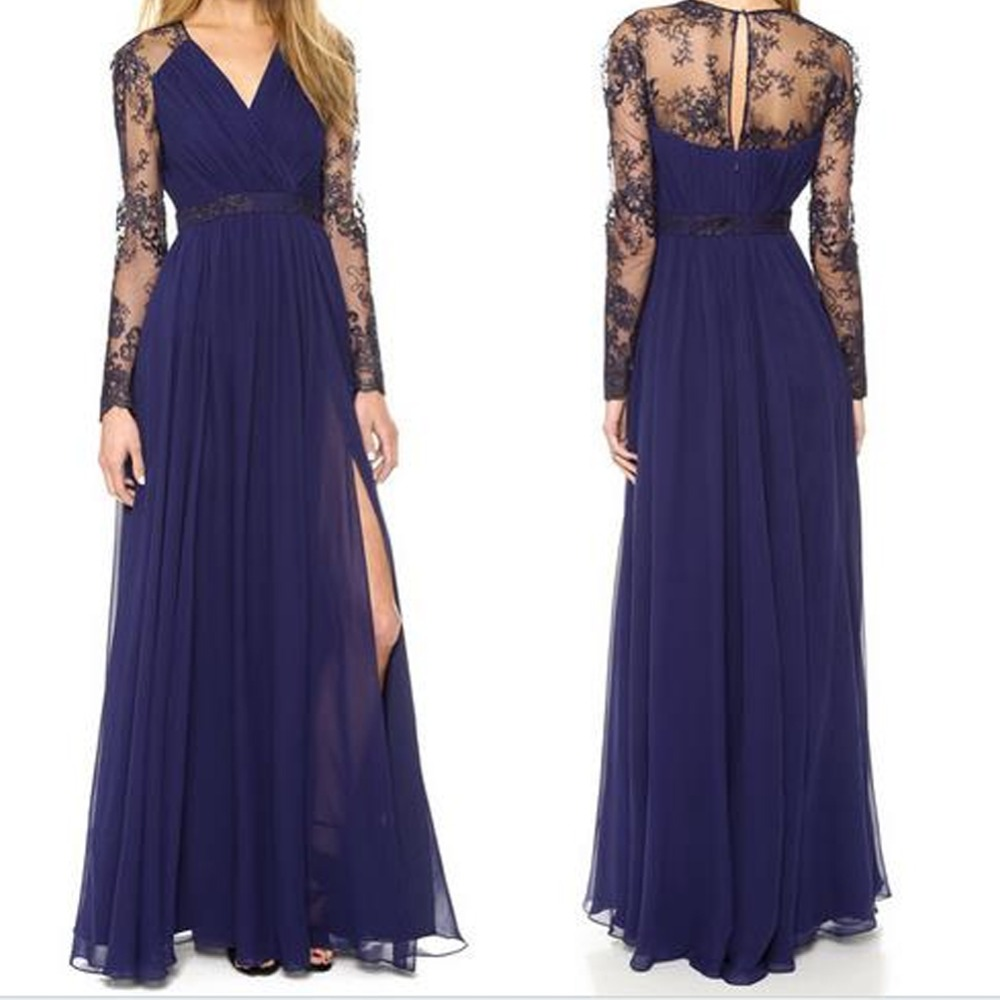 Womens Evening Formal Party Ladies Bridesmaid Lace Maxi Dress Prom Long Gown US