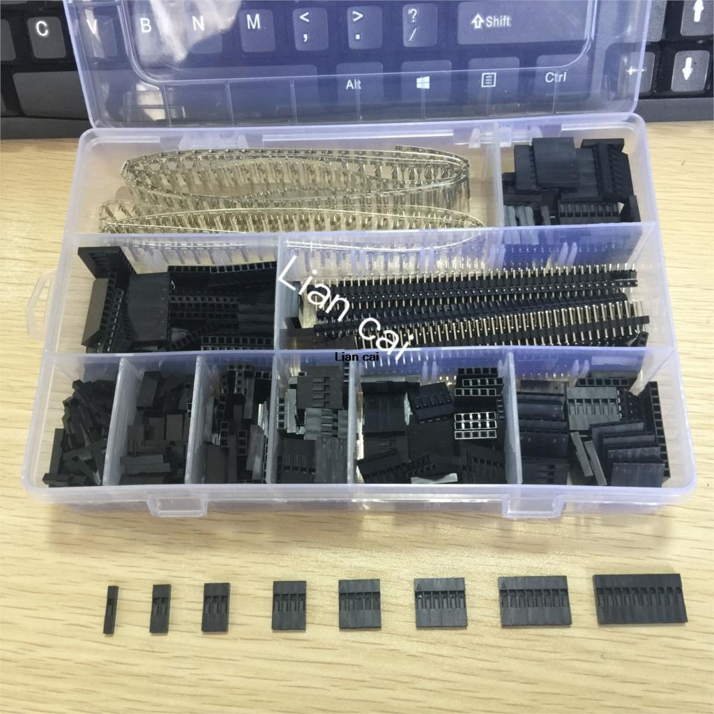1450Pcs/Set 2.54mm Dupont Connector Kit PCB Headers Male Female Pins Electronics