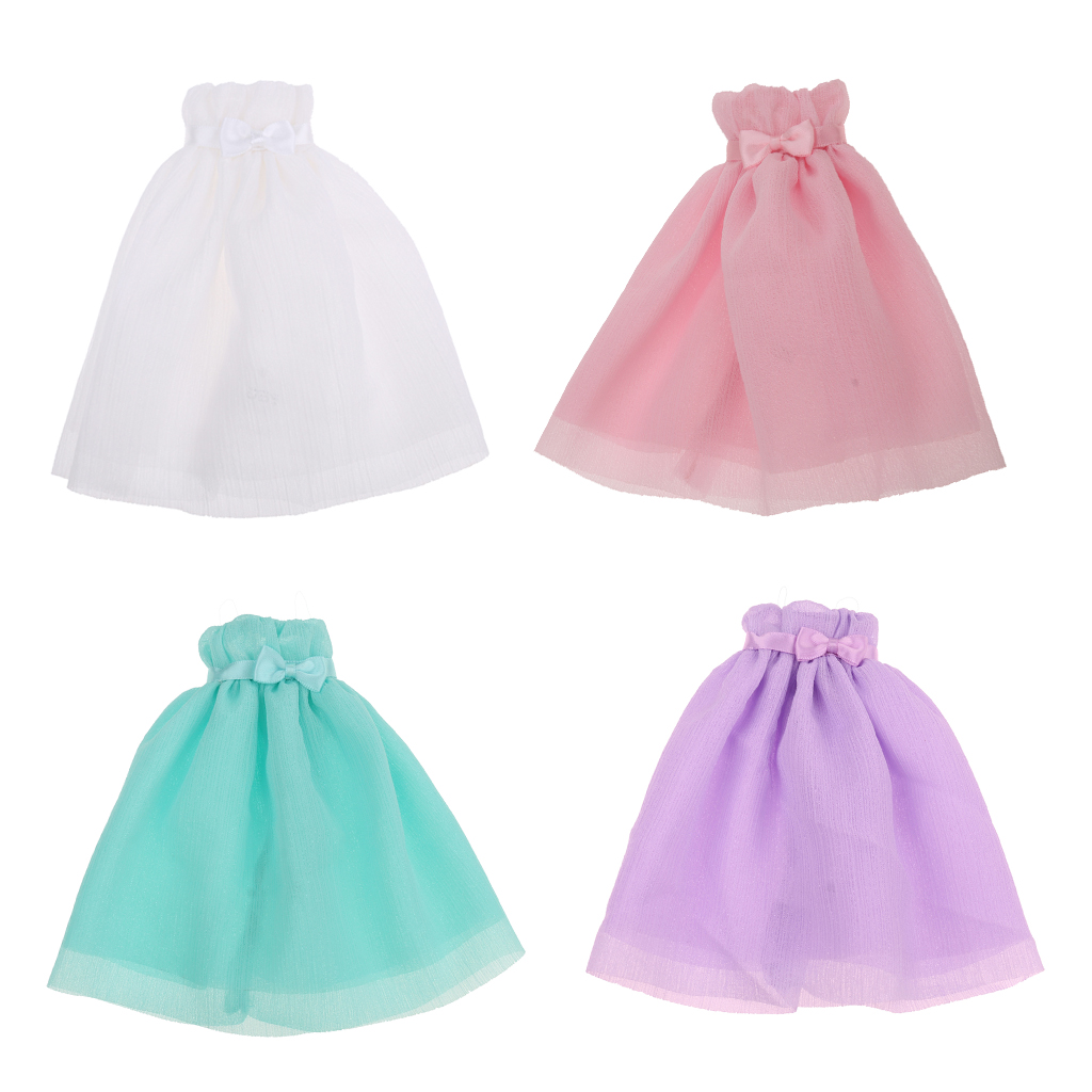 4 Pieces 1/6 Scale Chiffon Strapless Dress Skirt for Blythe Azone Licca Doll 1 6 scale white end table tea table furniture for barbie blythe licca azone dolls 12 action figure accessories