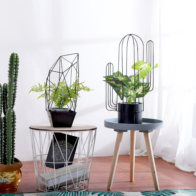 Nordic Creative Cactus Flower Pots Modern Geometric Iron Basket Pot Plant Flowers Floral Arrangement Wedding Flower Ornaments