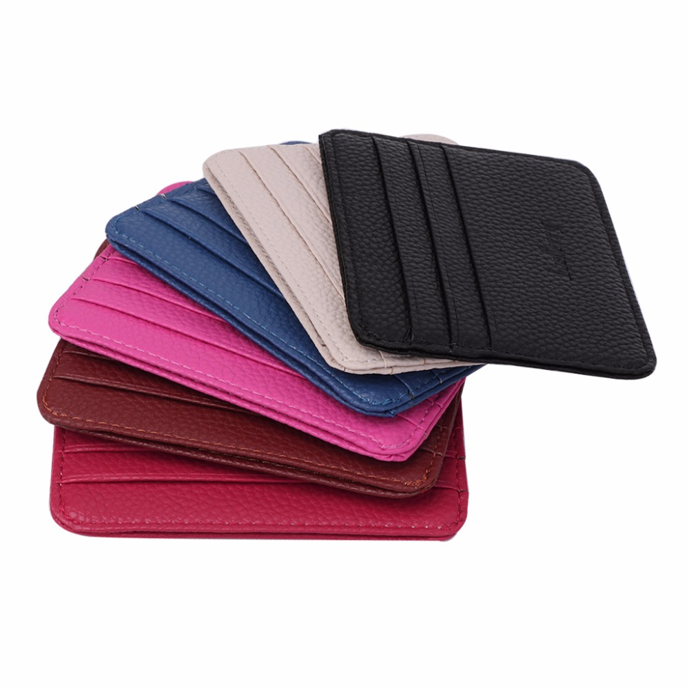 2017 Fashion Women Men's 3 Credit Cards Business Holder Pocket Slim Thin ID Credit Card Money Holder Wallet 6 Color women men business name superior quality id credit card candy color protector leather wallet card holder package box a dropship