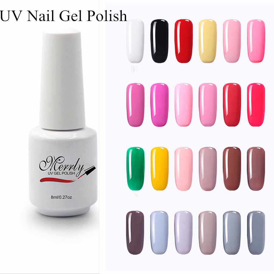 Merrly 8ml UV Gel vernis à ongles tremper couleur nue vernis à ongles vernis ensemble brillant Nail Art décorations pour ongles