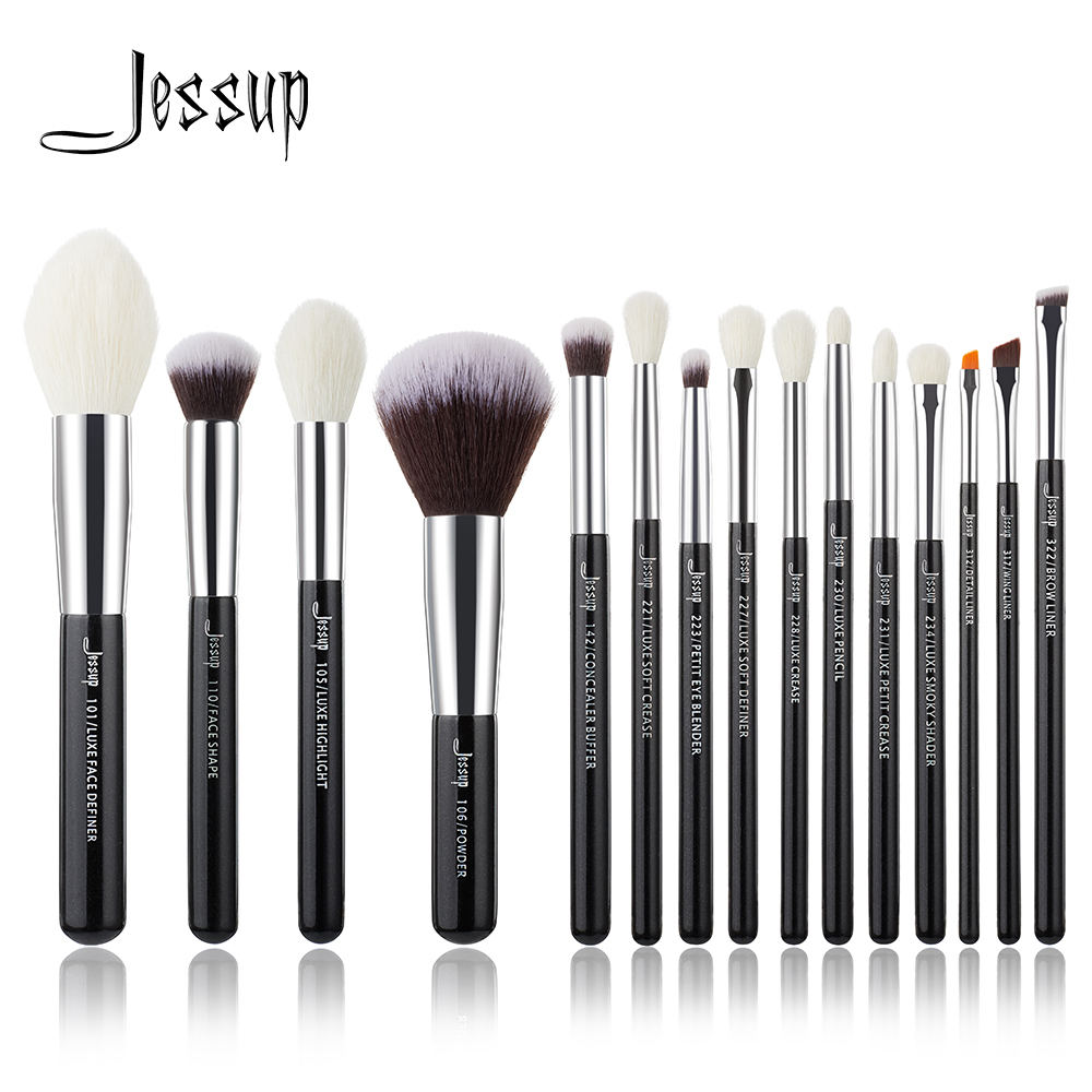 Jessup Brand Black/Silver Professional Makeup Brushes Brush set Beauty Tools Make up Foundation Powder natural-synthetic hair jessup brand pro makeup brushes set beauty make up cosmetics brush tools kit powder 02 cream foundation wool hair acrylic handle