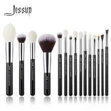 Jessup ensemble de pinceaux professionnels de maquillage, noir/argent, accessoires de beauté, poudre de fond de teint, cheveux naturels synthétiques