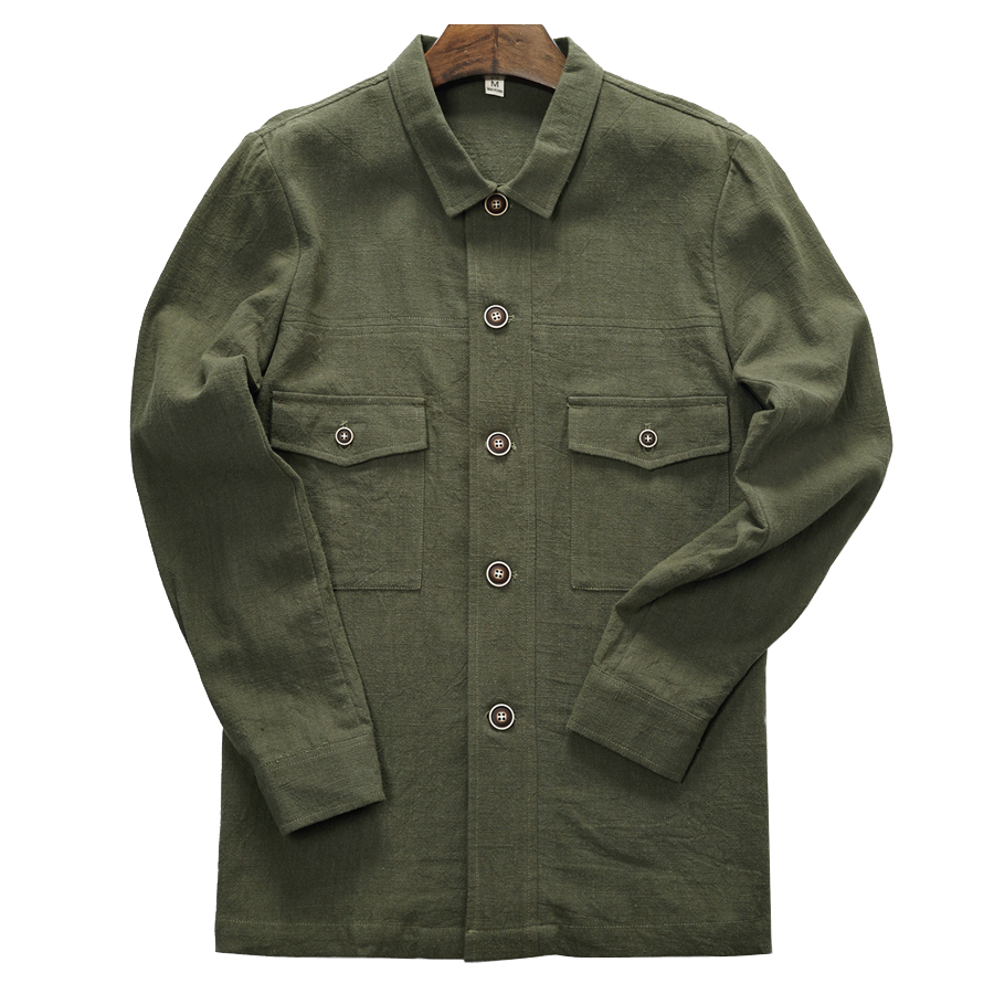 2018 Winter new men's pure linen overalls style jacket Korean fashion tops jackets male flax solid army green outwear mens jas