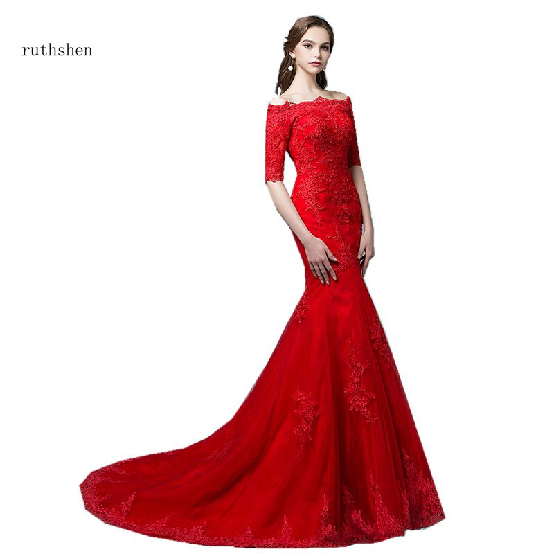ruthshen New Arrival Red Bridal Gowns Mermaid Robe Mariee Sirene Off The Shoulder Half Sleeves Sexy Wedding Dresses 2019