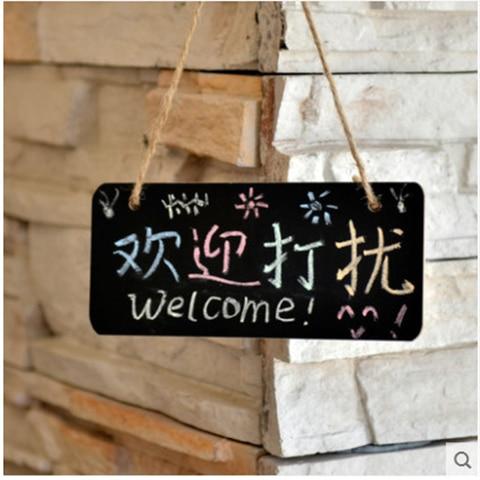 [4Y4A] 5pcs/Lot  Blackboards Hanging Wooden Small Blackboard / Message Board  Send Matching Chalk Sets