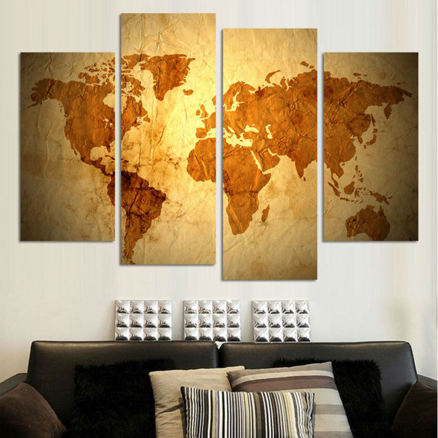 4 panel large HD Printed oil painting Luxury map poster canvas print ...