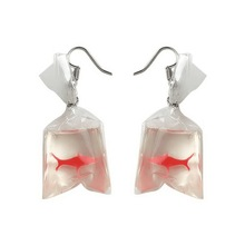 Funny Goldfish Bag Earrings Clear Resin Made Woman's Fashion Jewelry for Party