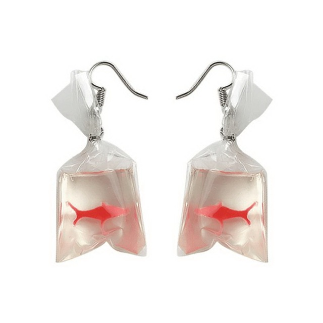 Funny Goldfish Bag Earrings Clear Resin Made Woman S Fashion Jewelry For Party