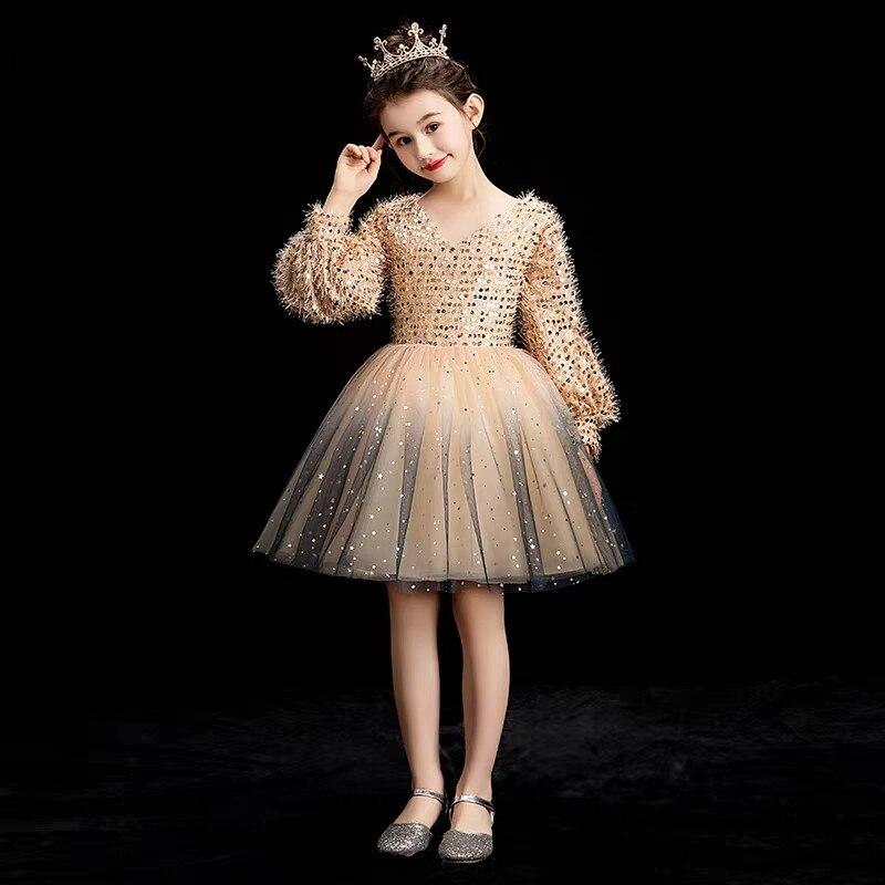 Children Girls Elegant Children Kids Fashion V Collar Long Sleeves Evening Birthday Party Mesh Dress Toddler
