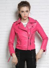 Autumn street black red oblique zipper motorcycle genuine leather jacket womens sheepskin jackets and coats slim fashion S – 2XL