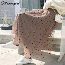 Womens Autumn And Winter Skirts Female Pleated Velvet Skirt Mesh Midi High Waist Long For Women Saia