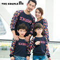 2016 otoño nueva de la familia a juego equipos mamá / papá / niños Floral algodón de manga larga camisa de sudor familia equipado ropa A33
