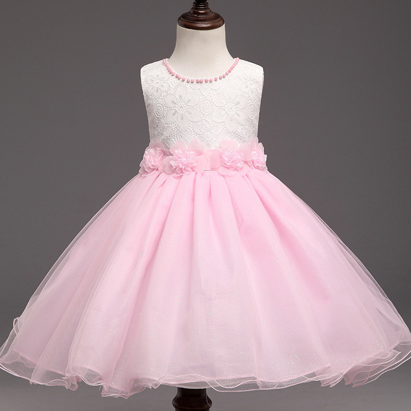 New Beading Flower Girl Birthday Dress Pearls Wedding Party Princess Dresses Kids Pink Tutu Mesh Costume Children Clothes стоимость