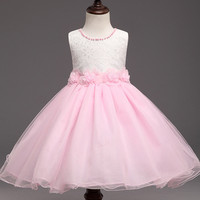 New Beading Flower Girl Birthday Dress Pearls Wedding Party Princess Dresses Kids Pink Tutu Mesh Costume