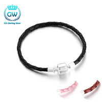 New Arrival Leather With 925 Sterling Silver Clip Bracelet Chain Fit European Charm Bracelet DIY Beads