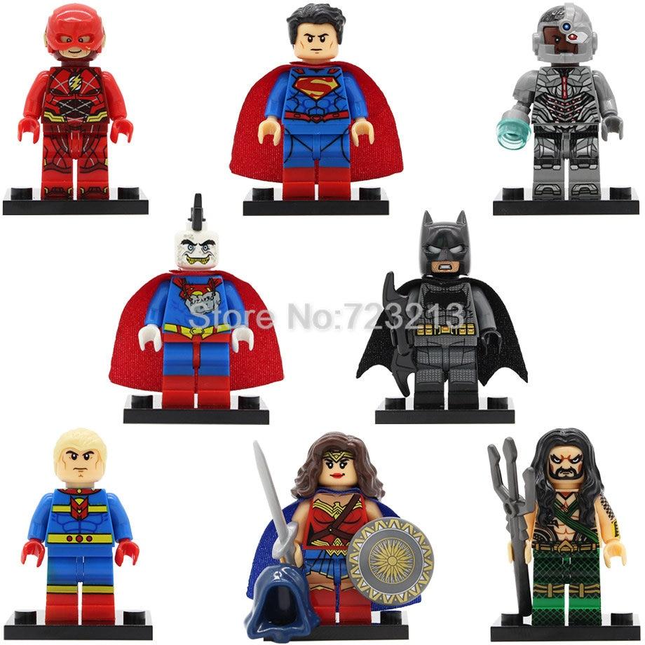 X0167 Super Hero Superman Bizarro Cyborg figure The Flash Aquaman Scott Free Batman Mr Miracle Building Blocks Model Toys