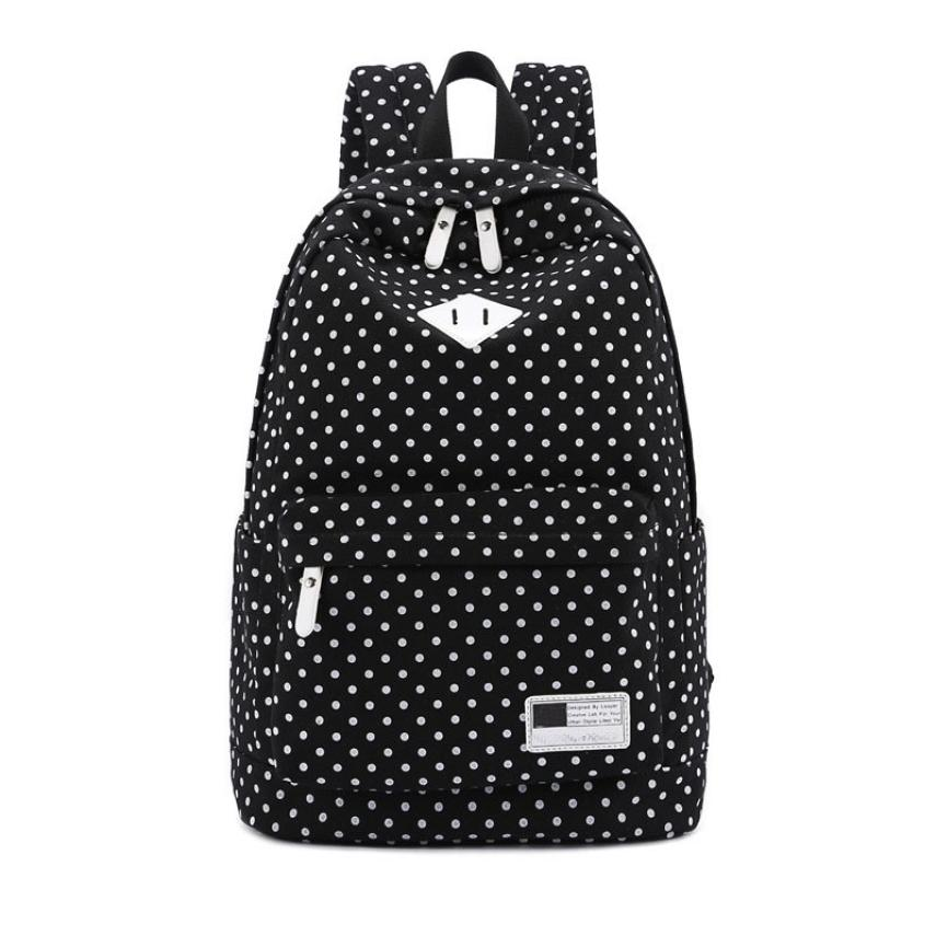 ximiu Fashion Canvas Backpack Polka Dot School Shoulder Bag Travel Rucksacks Small Fresh Double Root bags for women 2018 bag