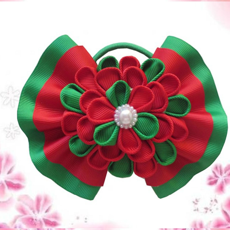 "10 BLESSING Happy Girl Hair Accessories 5/""  Ball Butterfly Hair Bow Elastic"