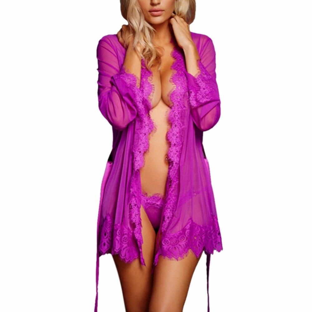 Sexy Women Robes Nightgown Bathrobe Pijamas Lace See-through Sleepwear Underwear Womens Underwear Nightwear Sleepwear with Belt