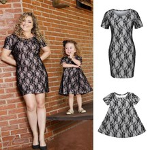 Mother Toddler Girl Matching Black Lace Dress