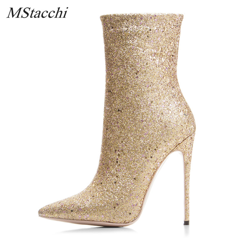 Mstacchi Super Star Luxury Bling Glitter Women Boots Sexy Pointed Toe High Heel Shoes Woman Paillette Cozy Women Ankle Boots New бальзам llang red ginseng revitalizing body balm 85 мл