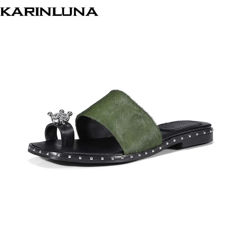 Karinluna Plus Size 33-40 New Brand 2018 Horsehair Slip On Crytal Black Women Shoes Summer Sandals Woman Shoes
