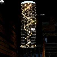 Moderna Escada lustre de cristal penthouse stair lâmpada LED rotativa villa sala de estar grande atmosfera de luz pendurado fio
