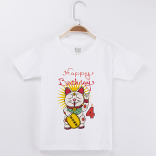цена 2019 Chinese Lucky Cat T Shirt For Child Top Cotton Kids Clothes Children Clothing Baby Girls Tops Boys Tees Suitable For 1-13Y