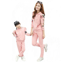 Mother Daughter Match Clothes Spring Autumn Family Clothing Set 2 PCS Long Sleeve Floral Tracksuit for Women Girls Pareo H0066